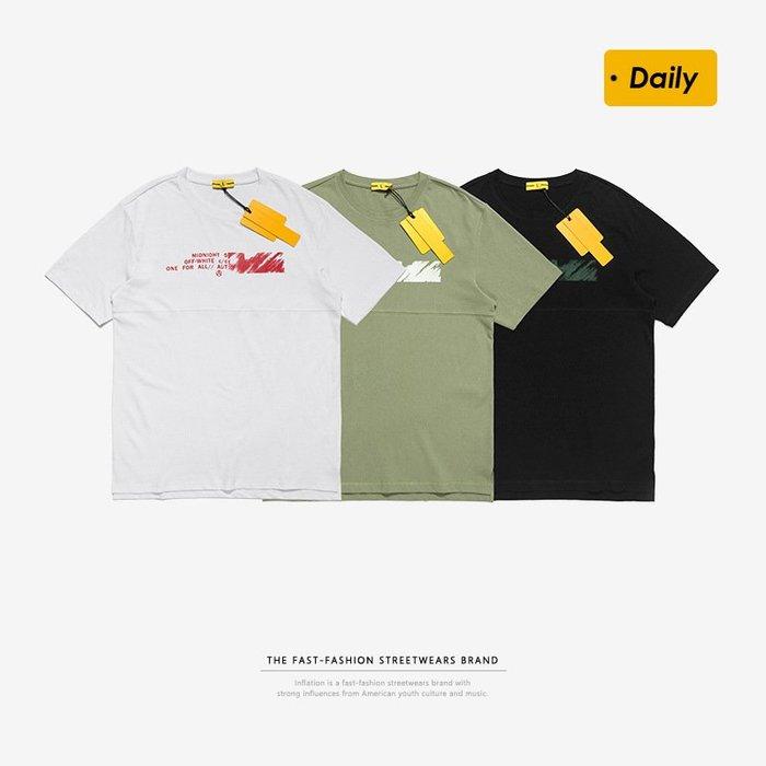 TST- 英文 草寫 寬鬆 大尺寸 oversize 落肩五分袖 短袖T恤 短T 情侶款美式西岸