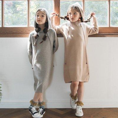 中大童 優質 女童【Q寶童裝】秋新款 FR-076 簡約甜美毛衣長裙 長袖 連身裙 洋裝