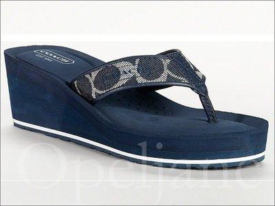 Coach Poppy Shoes單寧織布輕便厚底人字夾腳拖鞋涼鞋海灘鞋楔型鞋5.5 6號 22.5 23號 免運費