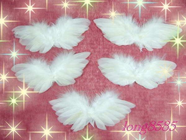 【花宴】DIY資材*白羽毛翅膀*小熊裝飾天使翅膀~天然羽毛.新貨特價中