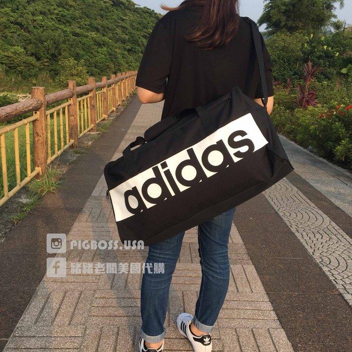 【豬豬老闆】ADIDAS ESSENTIALS 黑白 大LOGO 運動 休閒 手提 健身包 旅行袋 行李包 S99959