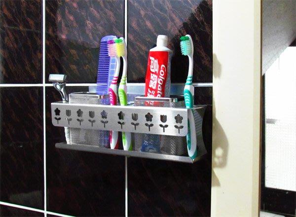 ☆成志金屬☆免鑽孔*貼掛不鏽鋼雙籃大牙刷架,設計師造型置物架、收納架、牙刷籃