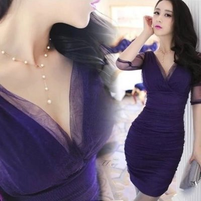 洋裝 #E-026 深V領五分袖網紗包臀修身款