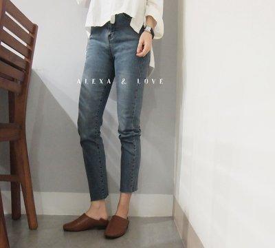 Alexa&Love_復古灰藍色基礎款直筒褲高腰九分褲牛仔褲(特)