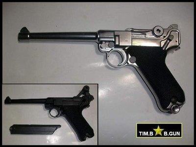 (生存遊戲6MM BB槍全民槍戰CS)~再降價二戰德軍官全金屬版魯格精選6吋銀色瓦斯槍(另有4吋及8吋)