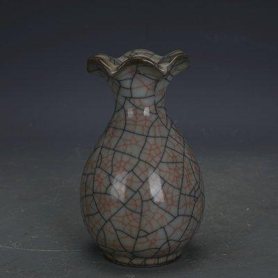 ㊣姥姥的寶藏㊣ 宋代哥窯鐵胎金絲鐵線花口瓶  手工 古瓷器古玩收藏博古架擺件