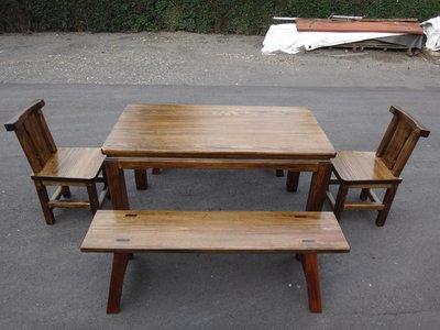 A062 {崙頂傳統原木家具行}~杉木實木固定桌配長板凳杉木靠背餐椅 跟 接受訂作 訂色 多款選擇