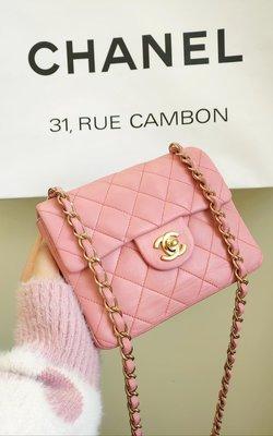 客訂下標,Chanel vintage 粉紅羊皮方胖子