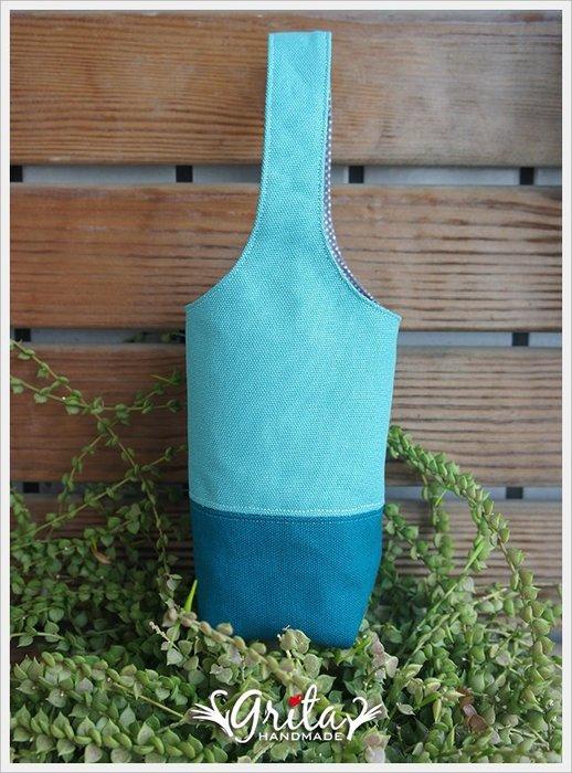 ♥grita's handmade♥手作環保飲料提袋/手搖杯/環保杯袋/隨身提包/帆布包—湖水藍+孔雀藍雙色(現貨)