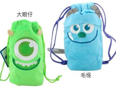【卡漫迷】 怪獸大學 束口袋 二款選一 ㊣版 大眼仔 MU Mike 手機包 手機袋 相機包 毛怪 Sulley 收納包