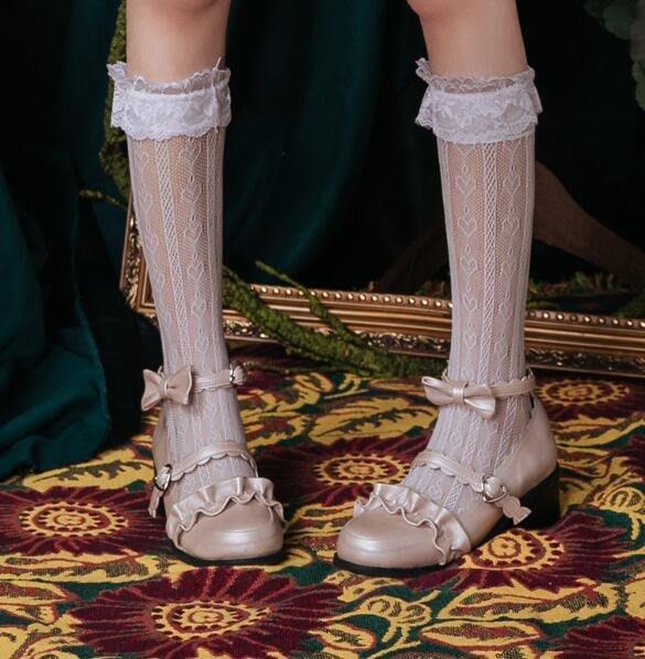 蕾絲打底襪子 美腿中筒襪Lolita軟妹洋裝百搭短襪—莎芭