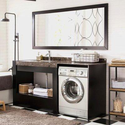 滾筒洗衣機櫃現代橡木浴室櫃組合大理石臺面洗手臺洗臉盆櫃定制   全館免運