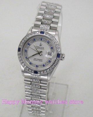 【 幸福媽咪 】網路購物、門市服務 TELUX 鐵力士 蠔式 晶鑽 瑞士ETA機芯 械錶錶 30mm SW9530WBJ