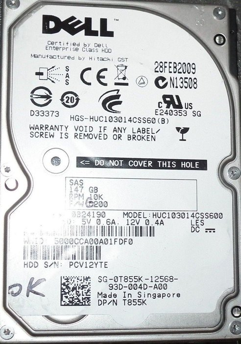 DELL HUC103014CSS600 147GB 2.5吋SAS硬碟0B24190 147G C10K300 10K