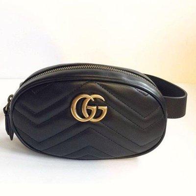 全新Gucci 雙G黑色皮革山型壓紋腰包/mini  size