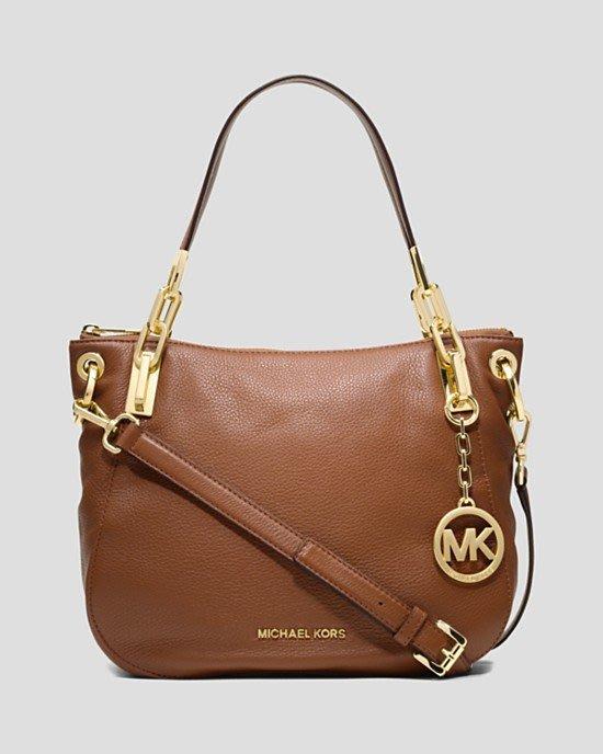 美國名牌 Michael Kors  Bag - Brooke 專櫃款皮革側斜背包(中款)現貨在美特價$5680含郵