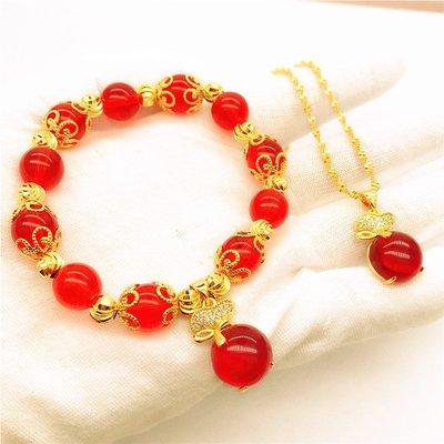 送禮佳品 新款仿黃金歐幣首飾 鍍金微鑲紅寶石福袋吊墜女 沙金項鏈久不掉色