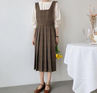 SeyeS   個性古著混搭雜誌款復古自然風百折格紋背心裙