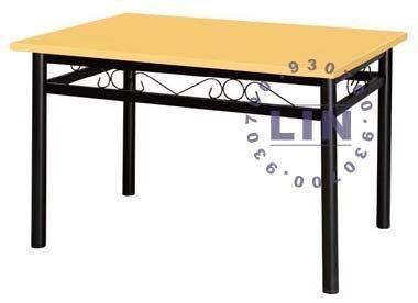 【品特優家具倉儲】797-01餐桌圓管烤黑富貴餐桌120*75