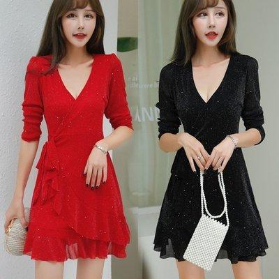 時尚佳人= 紅色連身裙秋季新款遮肚顯瘦性感V領荷葉邊系帶裙小個子禮服