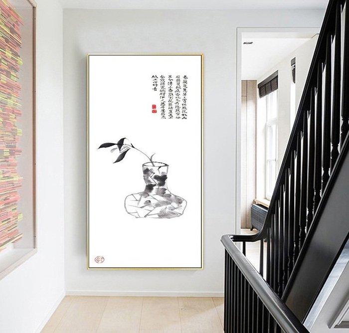 高清現代新中式掛畫畫心禪意水墨花瓶年輪國畫裝飾畫(2款可選)