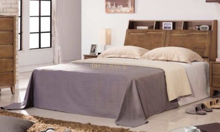 【DH】貨號BC007-1A名稱《亞米》5尺床檯(圖一)南檜實木床頭箱+全封式床底.備有六呎可選.主要地區免運費