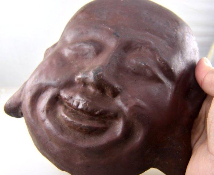 (六四三精品)早期收藏大型彌勒佛面具財神擺件