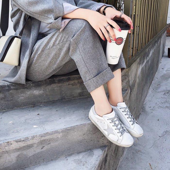 Love in Se韓國女鞋 Inking Pot推薦現貨手繪星星真皮小臟鞋內增高ins系帶平底休閒鞋