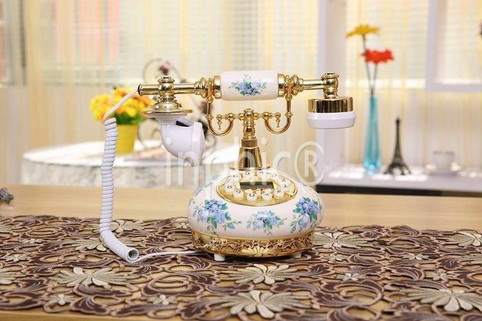 INPHIC-復古歐式陶瓷電話機復古田園可愛時尚座機電話機