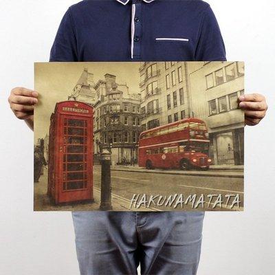 【貼貼屋】紅色電話亭與巴士 懷舊復古 牛皮紙海報 壁貼 店面裝飾 交換禮物 324