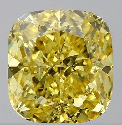 俐格鑽石珠寶批發 GIA 枕形黃彩鑽 Fancy Vivid Yellow 3.02克拉 價格:洽詢