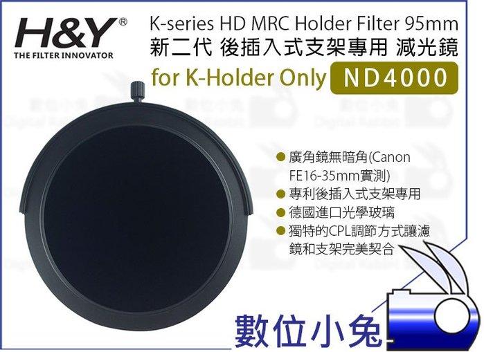 數位小兔【H&Y 新二代 K-series ND4000 減光鏡 95mm】公司貨 ND鏡K-Holder後插式支架專用