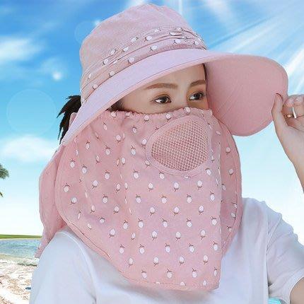防曬帽子女夏季全遮臉太陽帽大沿媽媽涼帽紫外線采茶大帽檐遮陽帽—卡洛洛卡