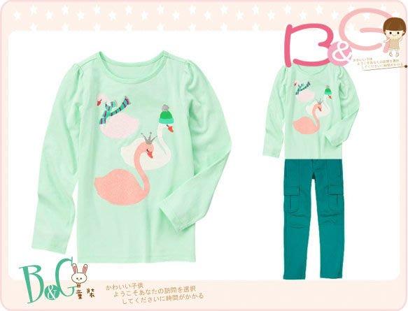 【B& G童裝】正品美國進口Crazy8 Sparkle Swan Tee 天鵝圖樣淺藍色長袖上衣M,L號6-8-10y
