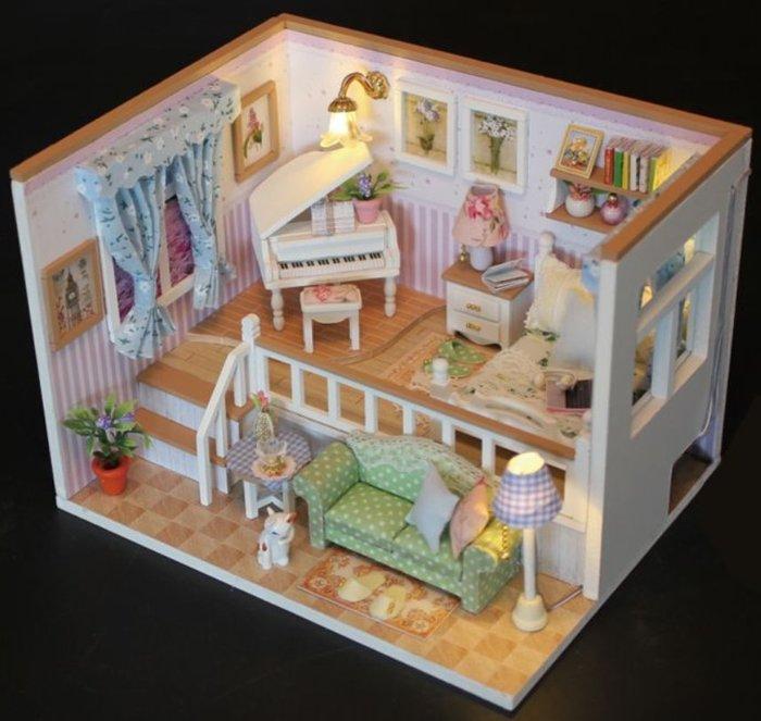 手巧家 DIY袖珍屋_甜蜜鋼琴屋 娃娃手做玩具迷你手工動手做模型創意禮物節慶女友情人節生日禮物浪漫小物