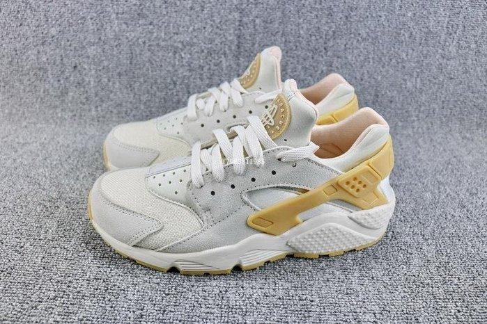 Nike Air Huarache 米黃 麂皮 網面透氣 武士 休閒慢跑鞋 男女鞋 852628-004