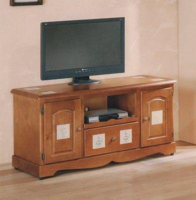 歐式鄉村風電視櫃 4尺實木電視櫃 4尺電視櫃 矮櫃 TV架  4尺電視架 內嵌磁磚電視櫃 雙門一抽屜電視架