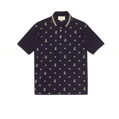 HJ國際精品館20春夏GUCCI 604157  Symbols embroidered polo-藍