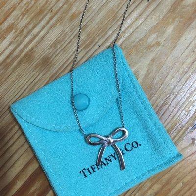 美國百年精品名牌Tiffany&Co.純銀飾品蝴蝶結項鍊面交付紙袋紙盒完整包裝現貨