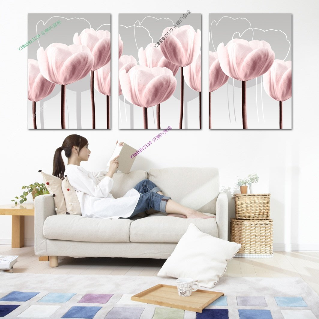 【35*50cm】【厚0.9cm】粉色經典-無框畫裝飾畫版畫客廳簡約家居餐廳臥室牆壁【280101_487】(1套價格)
