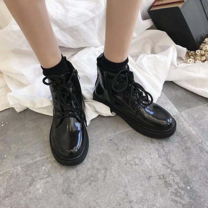 999短靴 靴子 馬丁靴 牛津靴  南在南方 韓國ulzzang馬丁靴女夏圓頭pu機車靴系帶側拉鏈短靴子潮