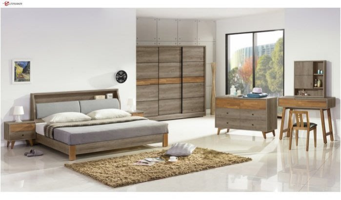 DH貨號A229A名稱《艾倫》5尺床套組(圖一)床台床頭櫃*1六斗櫃7.5尺衣櫃鏡台組台灣製可訂做可拆賣.主要地區免運費