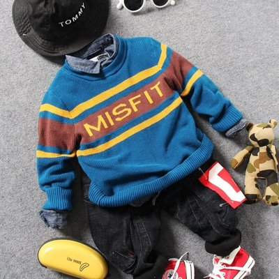 【Mr. Soar】 E326 冬季新款 韓國style童裝男童字母加絨毛衣 現貨