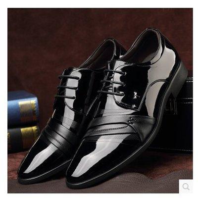 紅蜻蜓男鞋新款真皮男士商務正裝男皮鞋正品內增高6cm英倫結婚鞋