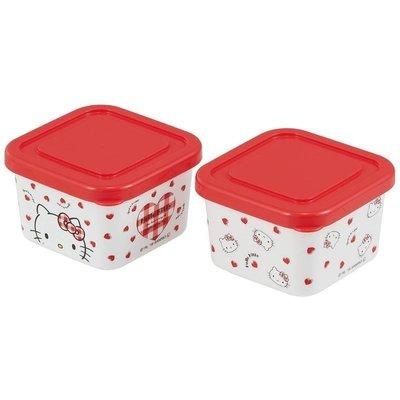 @雪花館@ 代購~正版Hello Kitty ♥ 2入方型保鮮盒 (大臉.愛心)