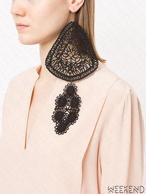 【WEEKEND】 STELLA MCCARTNEY 超大尺寸 針織 圖騰 耳環 單邊 單只 黑色
