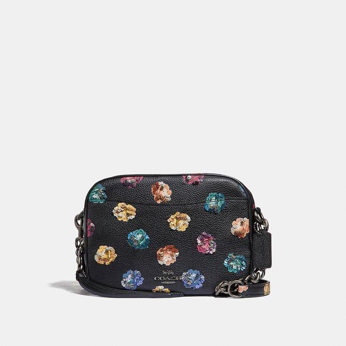 Coco小舖COACH 31647 Rainbow Rose Sequin Camera Bag 相機包