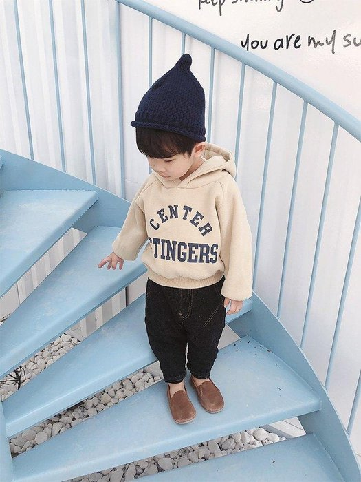 日和生活館 寶寶衣服 男寶寶服裝 兒童裝 萌萌童裝 小帥哥兒童加絨加厚衛衣男1-3歲新款男童字母潮衣寶寶外套潮 S988