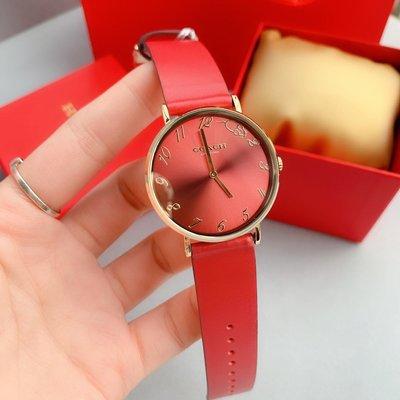 ㊣國際品牌COACH庫㊣ COACH 14503486【2件免運】新款Perry系列真皮帶石英手錶 小老鼠標誌女錶 腕錶
