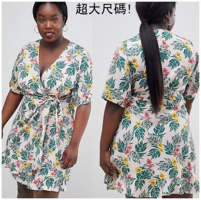 【Sam Presents】歐美洋裝熱帶短袖小禮服超大尺碼加大尺寸特大號C4352